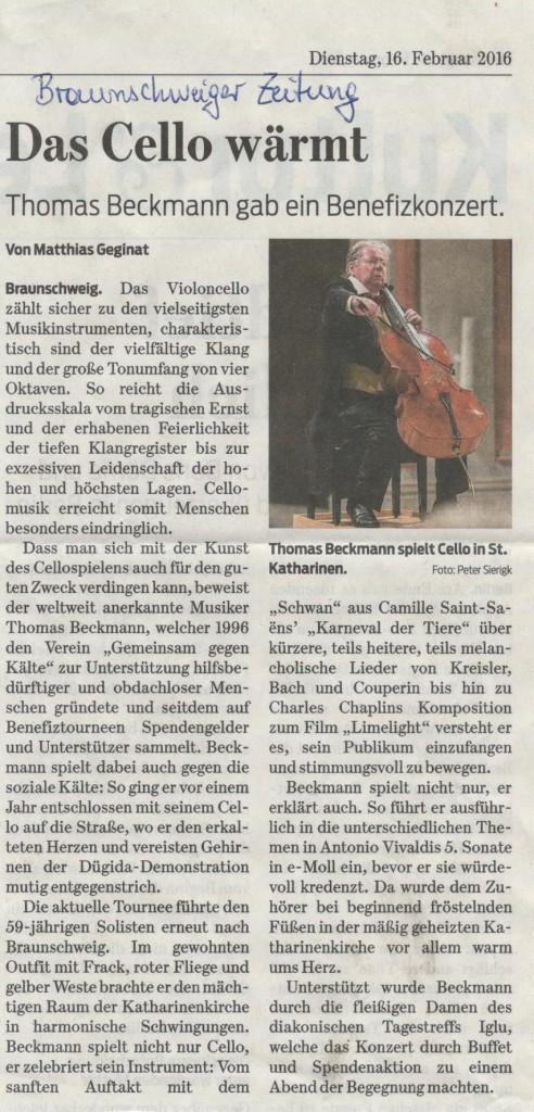 Beckmann spielt Cello in St. Katharinen, Febr 2016