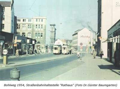 """Bohlweg 1954, Straßenbahnhaltestelle """"Rathaus"""""""